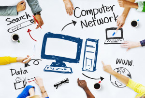 Group of People with Computer Network Concept