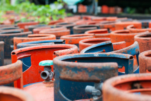 Valves of LPG cylinders red and Blue