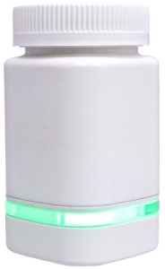 The AdhereTech smart pill bottle.