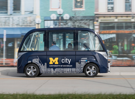 A driverless shuttle at the University of Michigan's Mcity program.
