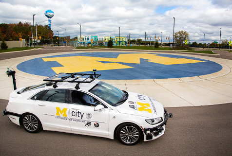 A specially equipped Lincoln MKZ, based at Mcity, is an open-source connected and automated research vehicle available to U-M faculty and students, startups and others to help accelerate innovation.
