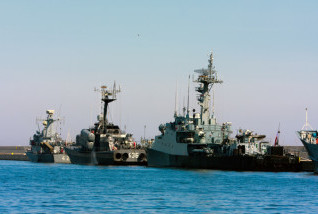 GDYNIA CITY, POLAND - APRIL 26: Small missile boats of Polish Navy in port of Gdynia. April 26 2010, Poland