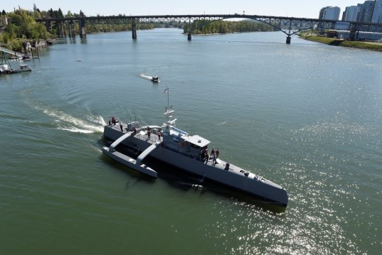 The Sea Hunter in the Willamette River after a christening ceremony in Portland, Oregon.