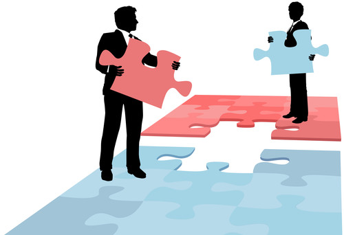 Business people puzzle piece solution collaboration merger