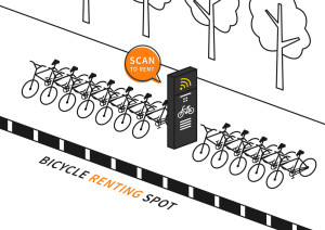 Bike renting station vector illustration