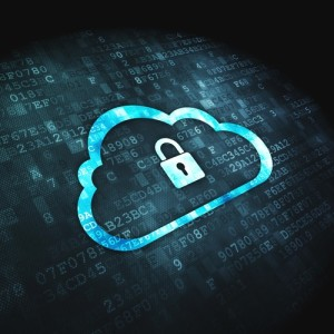 Networking concept: Cloud Whis Padlock on digital background
