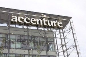 PRAGUE, CZECH REPUBLIC - MAY 22: Accenture global professional services company logo on Czech headquarters building on May 22, 2017 in Prague, Czech republic. In 2016, Fortune magazine named it the worlds most admired Information Technology Services company.
