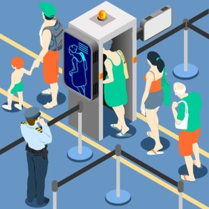 Isometric Queue at Security Checkpoint Machine