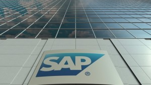 Signage board with SAP SE logo. Modern office building facade. Editorial 3D rendering