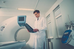 Doctor looking at the computed tomography results